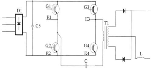 由逆变电路将该直流电变为几十千赫兹的交流电